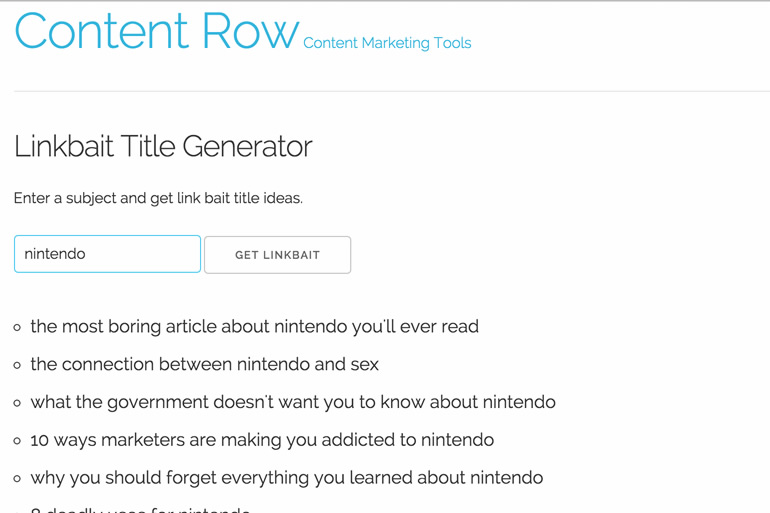 ContentRow title generator